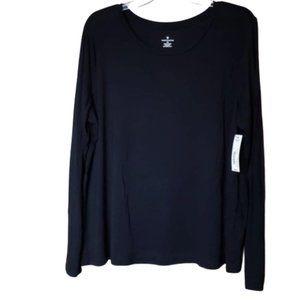 NWT Women's XXL Worthington Black LS Shirt Top ray